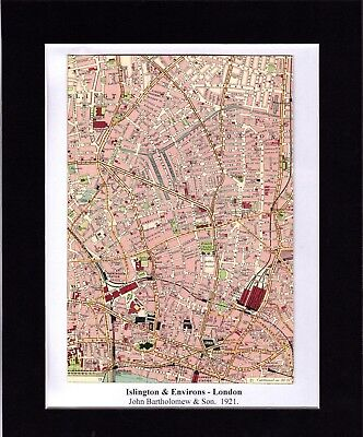 Antique MAP ~ ISLINGTON & ENVIRONS London ~ 1921 Bartholomew MOUNTED Original