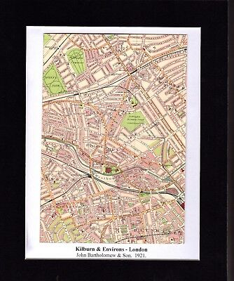 Antique MAP ~ KILBURN & ENVIRONS London ~ 1921 Bartholomew MOUNTED Original