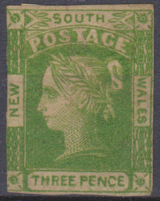 New South Wales 1854 Mint Mounted 3d Yellow Green SG87 Cat £800
