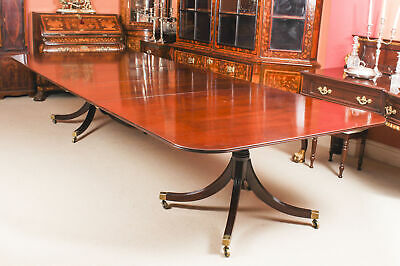 Vintage 12 ft Mahogany Regency Style Twin Pillar Dining Table Mid  20th C