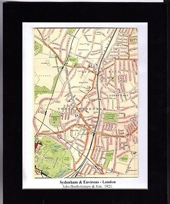 Antique MAP ~ SYDENHAM & ENVIRONS London ~ 1921 Bartholomew MOUNTED Original
