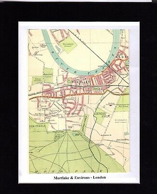 Antique MAP ~ MORTLAKE & ENVIRONS London ~ 1921 Bartholomew MOUNTED Original