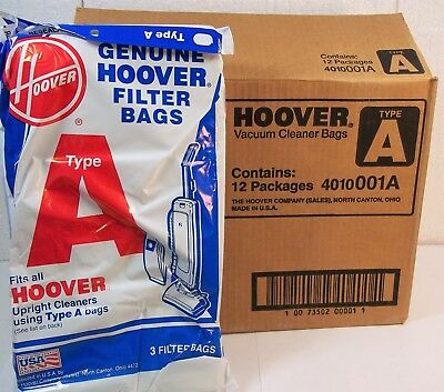 36 HOOVER TYPE A VACUUM CLEANER BAGS Full Case! 4010001A upright filter GENUINE