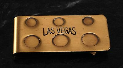 """Vintage """" LAS VEGAS"""" Solid  Brass Money Clip w Six Insets New Old Stock"""