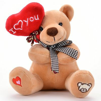 "Valentines Teddy Bear Heart I Love You Gift For Girlfriend Holiday 7"" Brown"