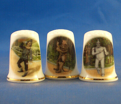 Fine Porcelain China Thimbles - Set Of  Three Wizard Of Oz