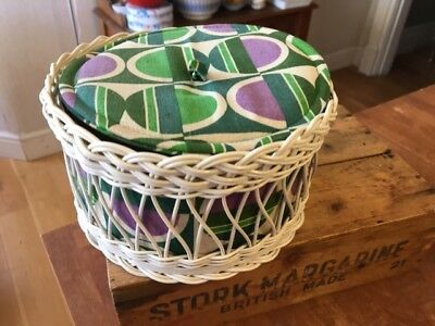 Vintage Patterned Fabric & Woven Plastic Sewing Basket / Box – Purple / Green –