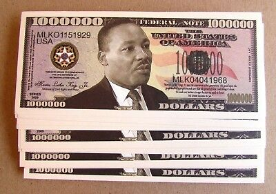 10 Martin Luther King Million Dollar Bills Novelty Money Free Shipping Mlk Money