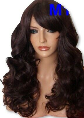 Curly Black Plum Red Long Women Ladies party adult Halloween Full Wig M19