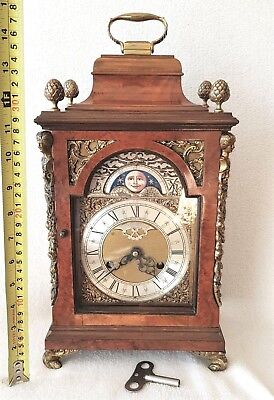 Mantel Clock Antique Shelf Bracket Bell Strike Moon Phase Pendulum 39cm