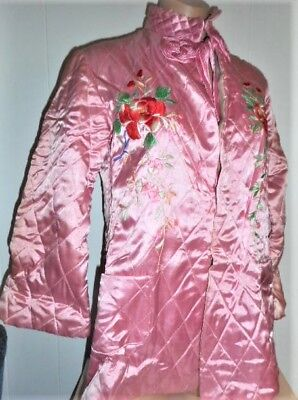 Cherry Pink Quilted Satin Floral Embroidered Mandarin Bed Jacket S