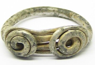 3rd century B.C. Nice Excavated Iron Age Celtic Silver Spiral Finger Ring Size 7