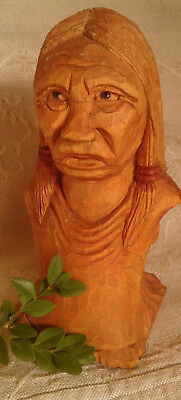 Hand Carved Wooden North American Native Figure Canadian Award Winning carver
