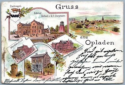 GRUSS AUS OPLADEN GERMANY UNDIVIDED ANTIQUE POSTCARD w/ STAMP