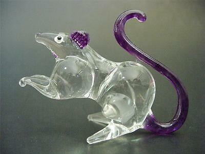 Glass MOUSE RAT Purple & Clear Glass Animal Figure Blown Glass Ornament Gift