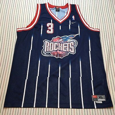 8ef0405c935 072 Steve Francis NIKE Houston Rockets XL BLUE NBA Away Jersey Length +2  Sewn #