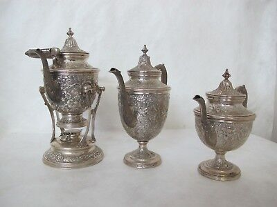 """Manchester Coffee/tea Set, Repousse """"Southern Rose"""" Pattern. 3 Pieces"""