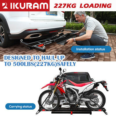 IKURAM 2 Arms Steel Motorcycle Towbar Carrier 2″Hitch Motorbike Mount Rack Ramp