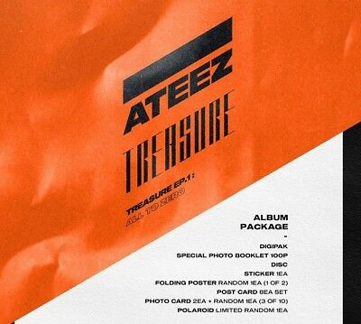 ATEEZ TREASURE EP.1 All To Zero Album CD+Book+Poster+11 P.Cards+Sticker+Tracking