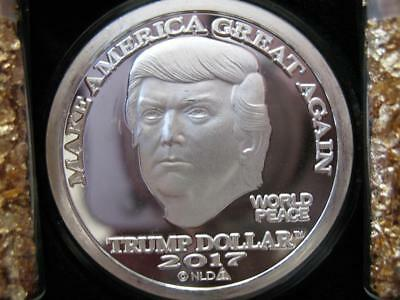 1-Oz.999 Silver Coin 2017 Bu Mirror Finish Trump Make America Great Again + Gold