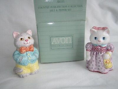 Avon Country Gift Collection Cats Kittens Salt & Pepper Shakers 1992 Girl & Boy