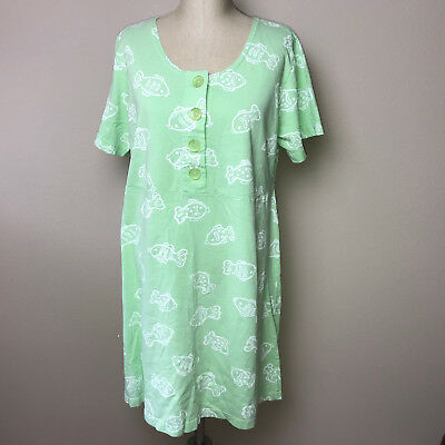02bbf98df2 Fresh Produce Green Fish Print Cotton SS Casual Dress Swim Cover Up Adult  Sz L