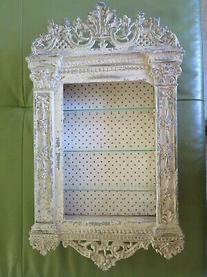 Quite Unique Vintage Ornate Cream Iron Display Curio Cabinet with Glass Shelves