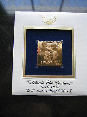 1998 UNCLE SAM I WANT YOU Replica 22 kt Gold Stamp US Enters WWI Golden Cover