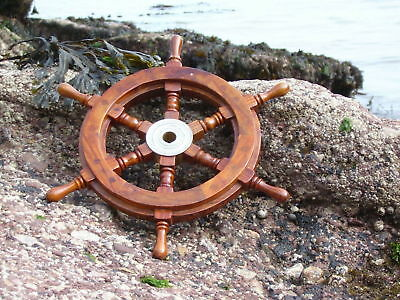 18'Nautical Wood Brass Fishing Home Boat Wooden Ship Steering Wheel Pirate Decor