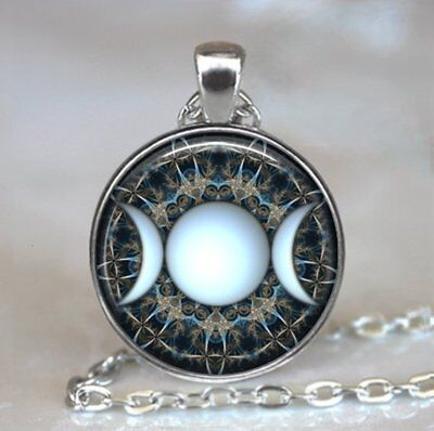 Wiccan Triple Goddess Photo Tibet Silver Cabochon Glass Pendant Chain Necklace