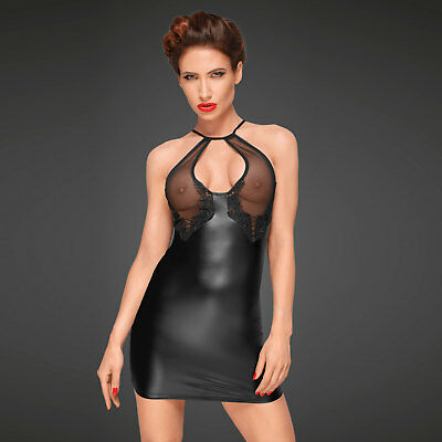 NOIR HANDMADE Decadence Wetlook Mini Kleid ♥in Geschenkbox♥ Transparent Clubwear
