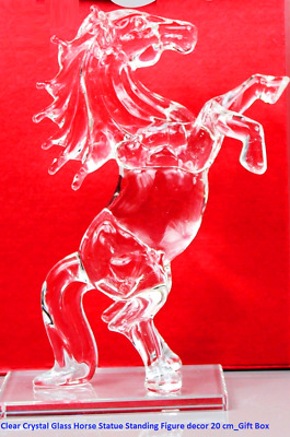 Clear Crystal Glass Horse Statue Standing Figure Decor 20 CM_Gift Box XmasNEW_UK