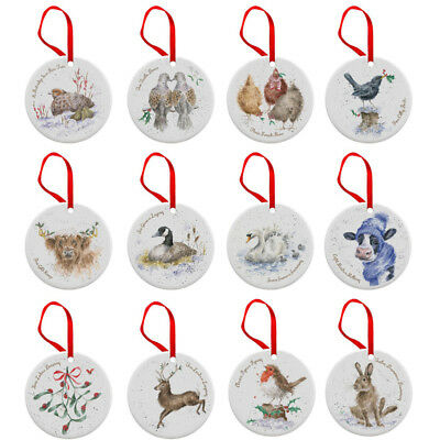 Royal Worcester Wrendale 12 Days of Christmas Decorations Tree Ornaments