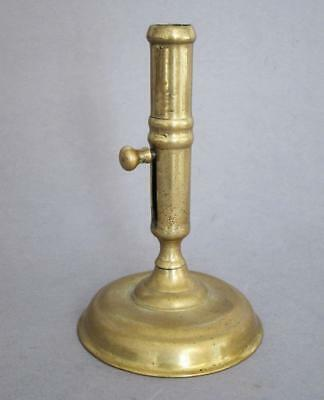 EARLY 18th CENTURY QUEEN ANNE / GEORGE I ANTIQUE BRASS CANDLESTICK with EJECTOR