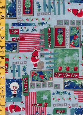2Yd Cotton Quilt Sew Fabric Riverwood Christmas Symphony Collage on Blue