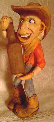 Hand Carved Wooden Cowboy Figure Canadian Award Winning carver Meticulous