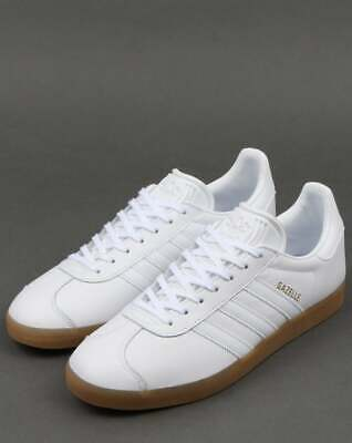 ADIDAS GAZELLE TRAINERS in White Leather & Gum Sole classic retro ...
