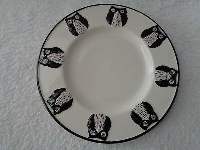 Global Design Connections Kate Williams Owl Salad Plate Black White