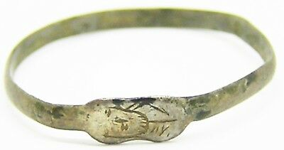 Rare 14th - 15th century Medieval Silver Iconographic Type Ring Head of a Saint