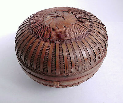 RARE LARGE ANTIQUE Chinese Sewing Basket Betty-Lou Collection Round Domed 131