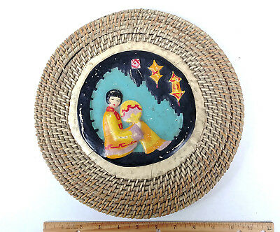 ANTIQUE Relief Painted Lacquer Chinese Sewing Basket Betty-Lou Collection 145