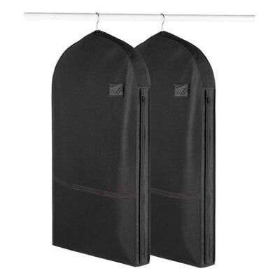 Living Solutions Garment Bag Zip Black With Pocket Travel Protector Set of 2