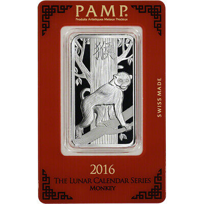 1 oz. Silver Bar - PAMP Suisse - Lunar Year of the Monkey - .999 Fine in Assay