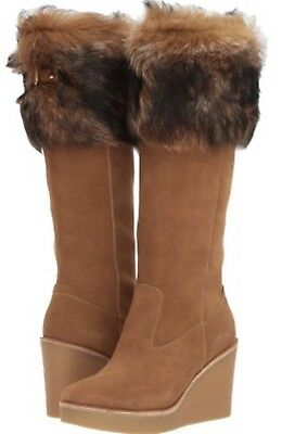 a86ae8643b7 $350 UGG AUSTRALIA Valberg Genuine Shearling Cuff Tall Wedge Boots Chestnut  7