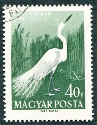 HUNGARY 1959 40fi grey and green SG1577 used NG Water Birds Great Egret #W31