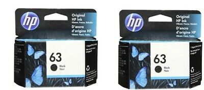 HP #63 Black Ink Cartridge 2 pack NEW GENUINE