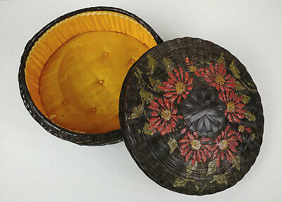 Lg Antique LINED BARBOLA PAINTED Chinese Sewing Basket Betty-Lou Collection 155