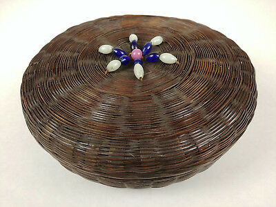 SMALL Antique BEADED Chinese Sewing Basket Betty-Lou Collection 156