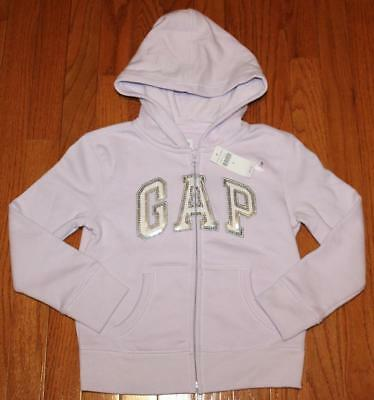 NWT Girls GAP GapKids Logo Hoodie Hooded Sweatshirt Full Front Zipper Purple *4Z