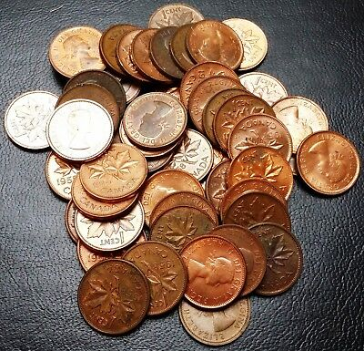 Lot of 50x 1957 & 1958 Canada Small Cent Pennies - Great Condition Coins